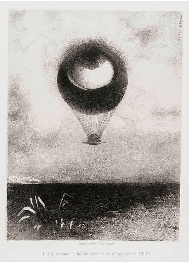 <em/>The Eye, Like a Strange Balloon, Mounts toward Infinity, Plate I of To Edgar Poe, 1882, Odilon Redon