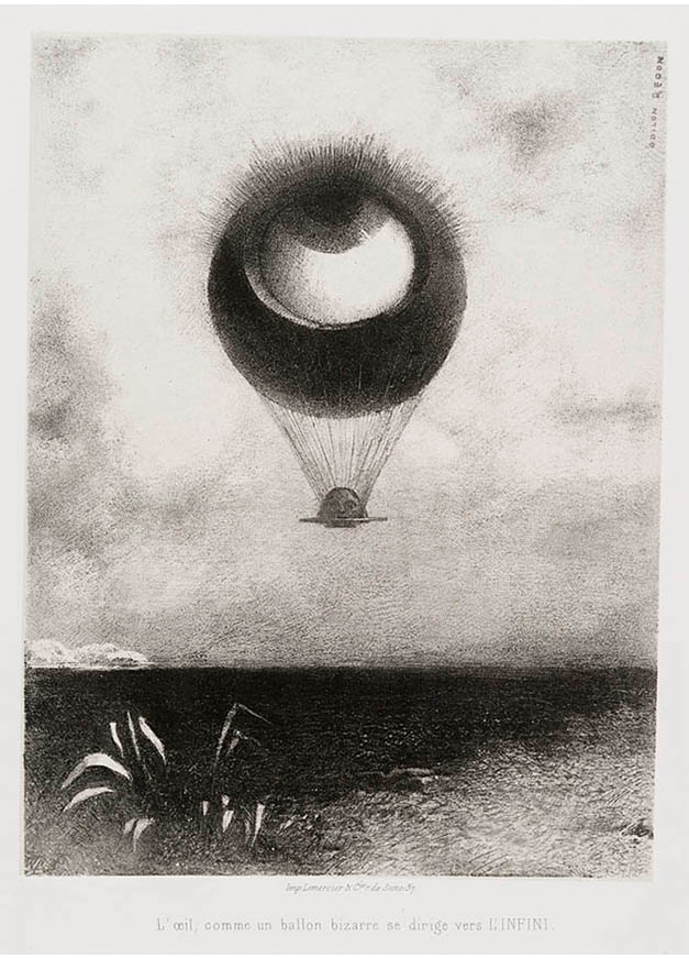 <em/>The Eye, Like a Strange Balloon, Mounts toward Infinity, Plate I of To Edgar Poe, 1882, Odilon Redon
