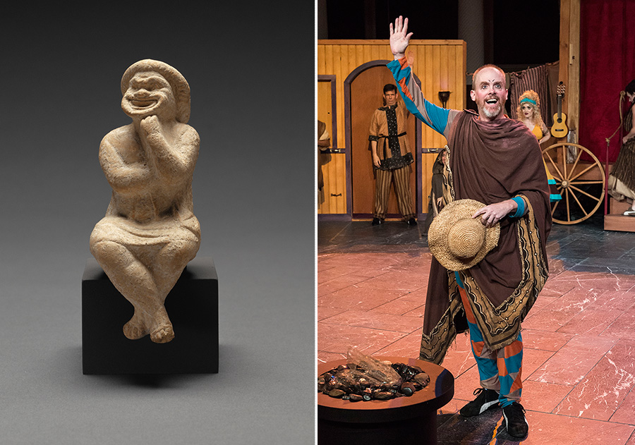 Slave types in ancient Roman theater, in a terracotta figurine and a still from a stage performance of Haunted House Party