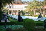 taisha paggett dances near the fountain in the Getty Villa's Outer Peristyle Garden.