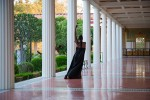 taisha paggett dances in the covered walkway of the Getty Villa's Outer Peristyle Garden.