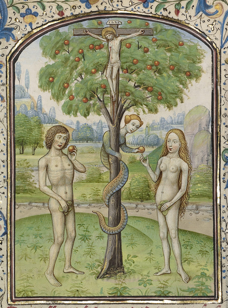 Detail of Adam and Eve Eating the Forbidden Fruit, early 1460s, Willem Vrelant. The J. Paul Getty Museum.