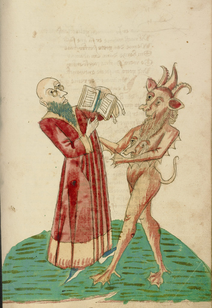 Theodas with the Book of Magic and the Devil, from Barlaam and Josaphat, 1469, Workshop of Diebold Lauber. The J. Paul Getty Museum