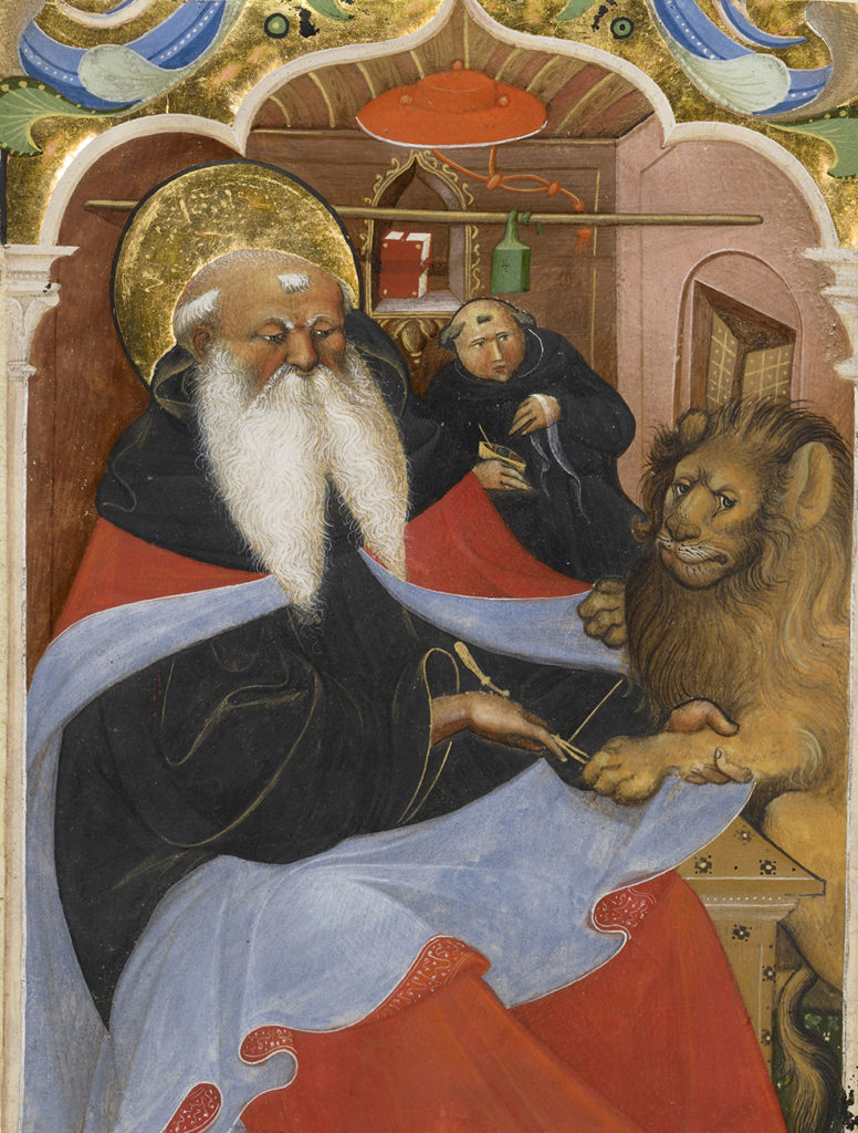 Saint Jerome Extracting a Thorn from a Lion's Paw, second quarter of 15th century, Master of the Murano Gradual. The J. Paul Getty Museum