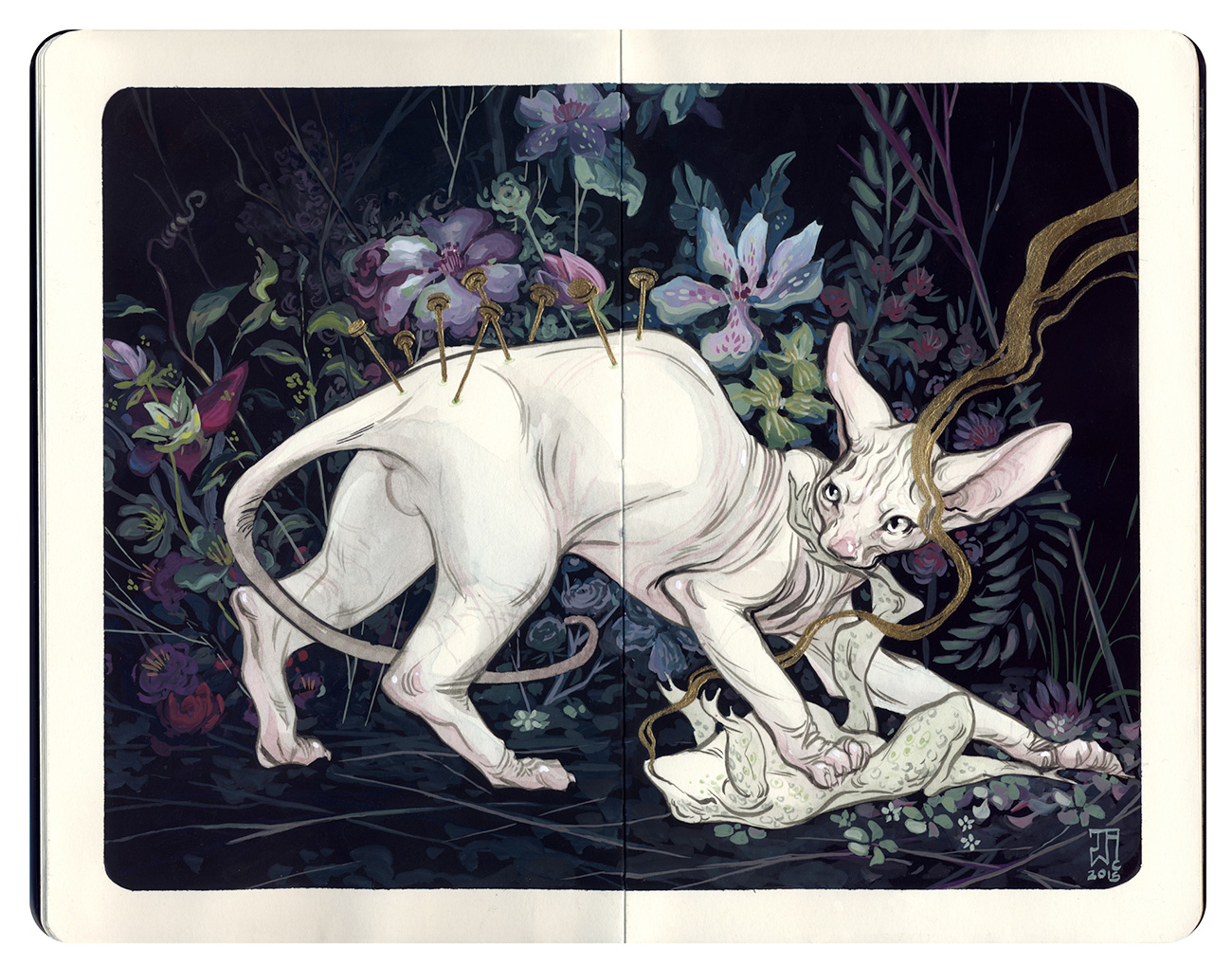 Color sketch of a hairless cat catching a frog in a forest setting