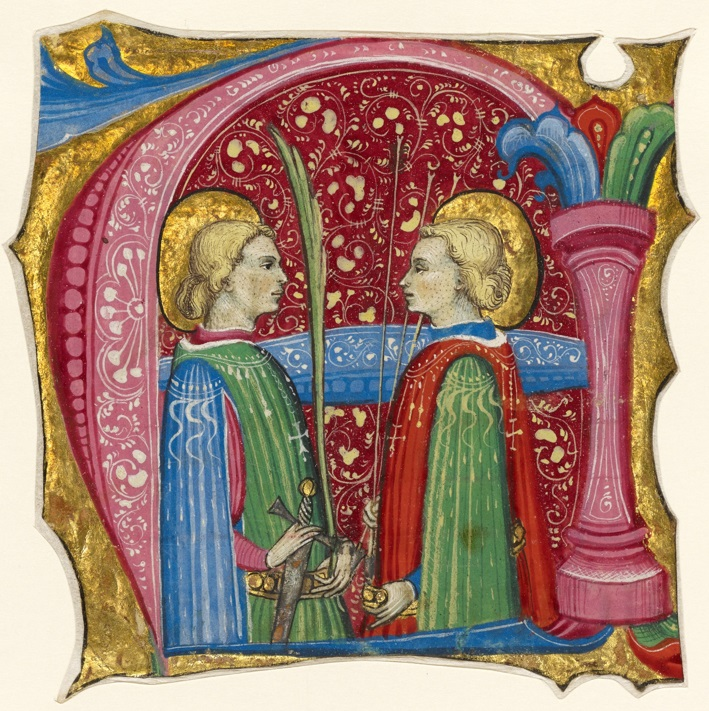 Initial A: Saints Maurice and Theofredus, Frate Nebridio, about 1460-80. The J. Paul Getty Museum, Ms. 91, recto