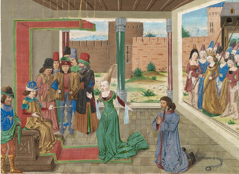 Bagoas Pleads on Behalf of Nabarzanes, Master of the Jardin de vertueuse consolation in The Book of the Deeds of Alexander the Great, about 1470-75. The J. Paul Getty Museum, Ms. Ludwig XIV 8, fol. 133v