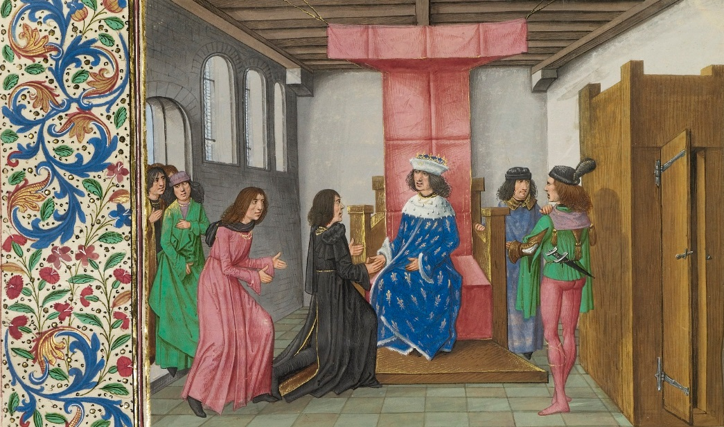 The Embassy of the Duke of Brabant before the King of France and the Duke of Berry, Master of the Getty Froissart in Jean Froissart's Chronicle, about 1480-83. The J. Paul Getty Museum, Ms. Ludwig XIII 7, fol. 272v