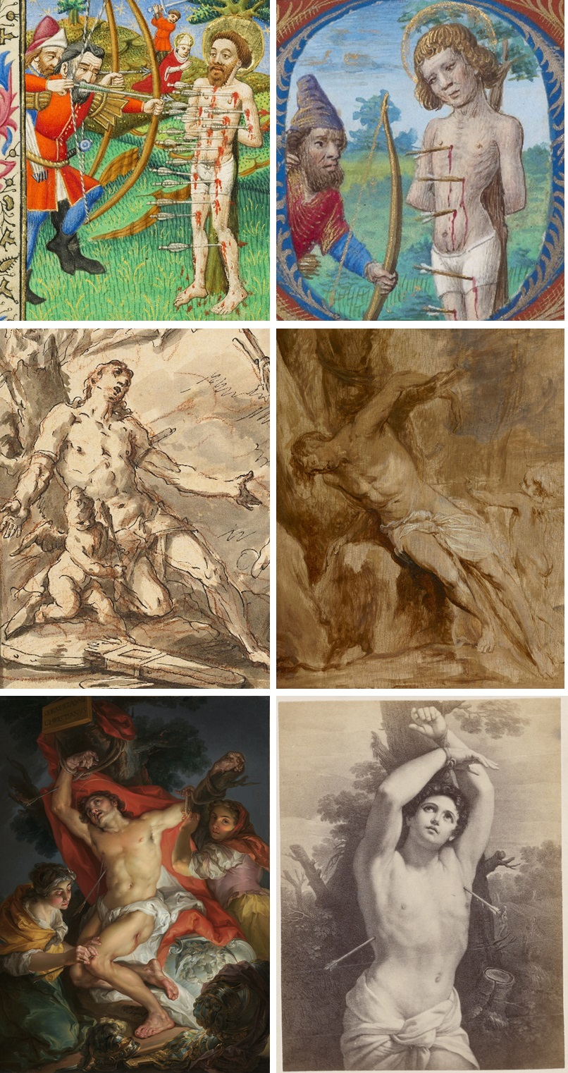Images of Saint Sebastian in the Getty Collection: Master of Sir John Fastolf, about 1430-40 (Ms. 5, fol. 36v); Georges Trubert, about 1480-90 (Ms. 48, fol. 173v); Gaspare Diziani, about 1718 (2004.83); Anthony van Dyck, about 1630-32 (85.PB.31); Vicente López y Portaña, 1795-1800 (2000.47); Unknown British Photographer after Gudio Reni, about 1865-85 (84.XP.1411.62).