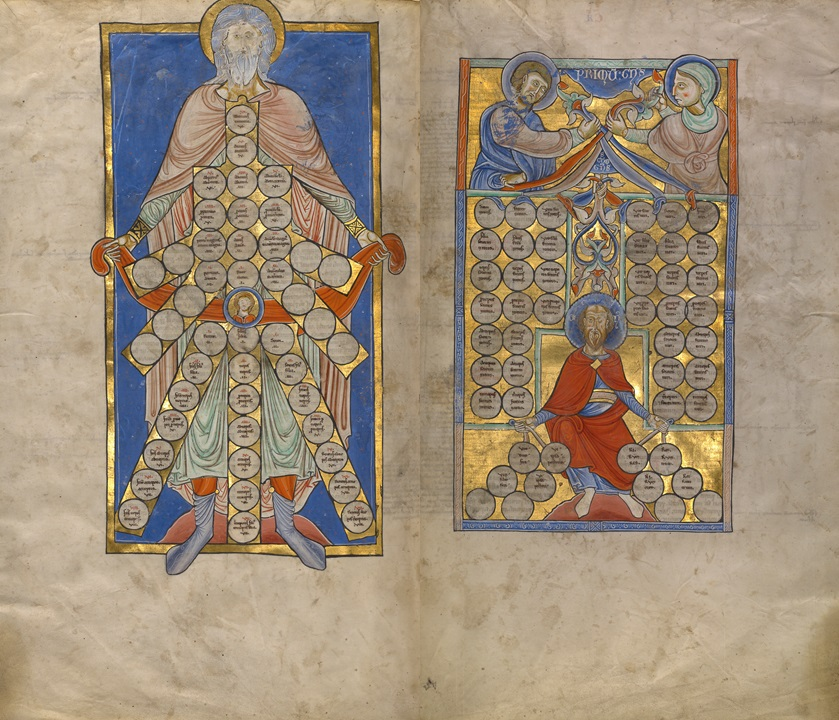 Tables of Consanguinity and Affinity from Gratian's Decretum, about 1170-80. The J. Paul Getty Museum, Ms. Ludwig XIV 2, fols. 272v-273