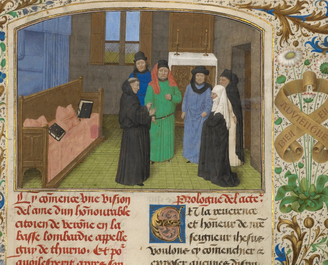 A Priest and Guy's Widow Conversing with the Ghost of Guy de Thurno, Simon Marmion, 1475. The J. Paul Getty Museum, Ms. 31, fol. 7