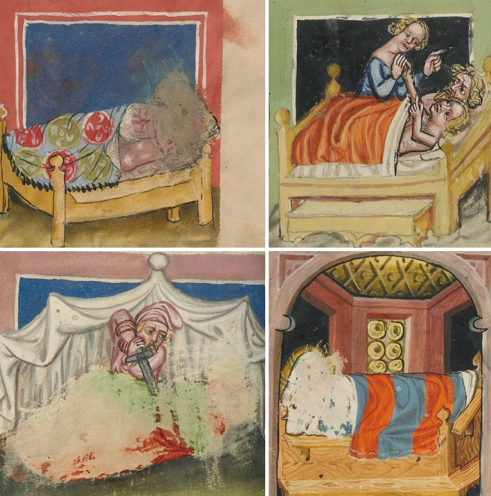 Abraham Making Love to Hagar; Lot's Incest; Pinehas Kills Simri and Kosbi; Amnon Raping Tamar in Rudolf von Ems's World Chronicle, about 1400 – 1410. The J. Paul Getty Museum, Los Angeles, Ms. 33, fols. 29, 32, 107v, 194v