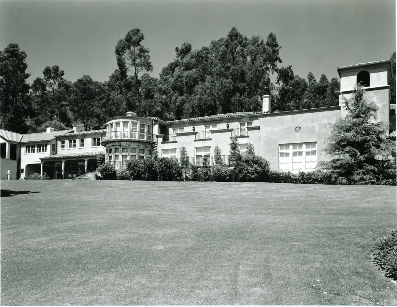 Exterior view of Getty Ranch House Museum, Malibu, about 1957.