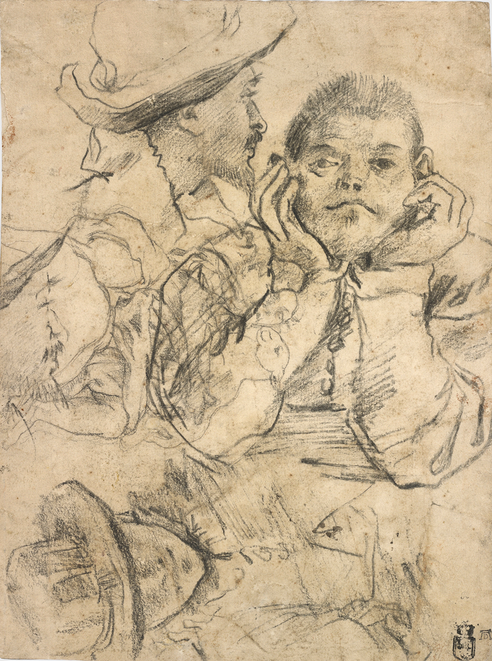 Four Studies of Heads Drawn over a Copy of Saint John the Evangelist by Correggio (recto); Three Studies of Men (verso), about 1585, Annibale Carracci and/or Lodovico Carracci. Black chalk (recto); black and red chalk (verso. 10 7/8 × 8 1/8 in. The J. Paul Getty Museum, Los Angeles