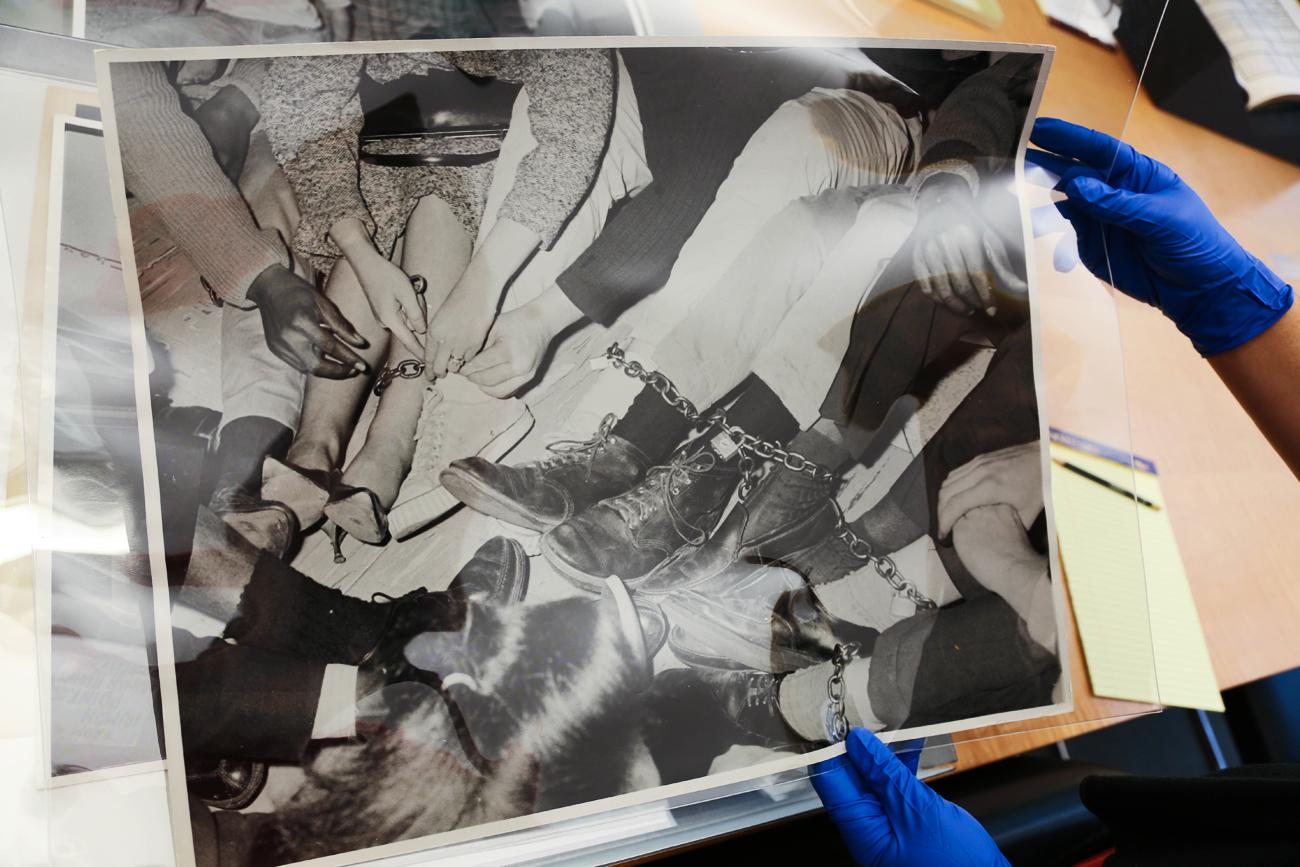CORE activists locking ankles / Charles Brittin