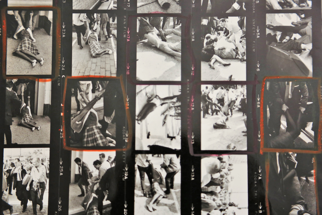 Contact sheet featuring 1965 protest