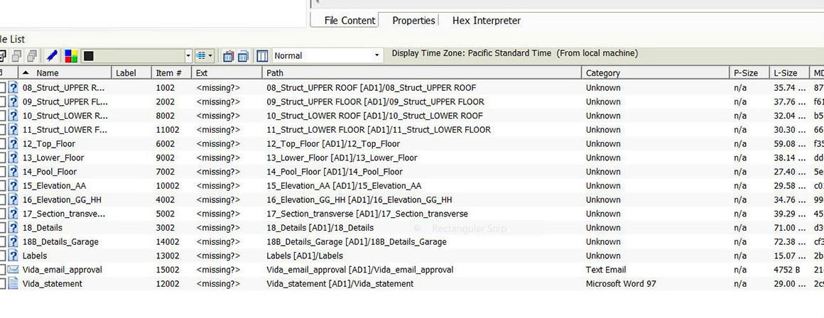 Screen capture showing missing file extensions in FTK, indicated by <missing?> in the third column from left