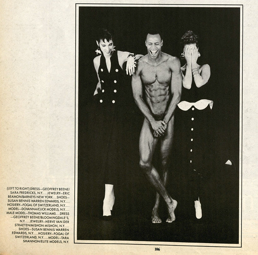 Dovanna Pagowski, Tara Shannon, and Thomas Williams, Robert Mapplethorpe, from Interview magazine