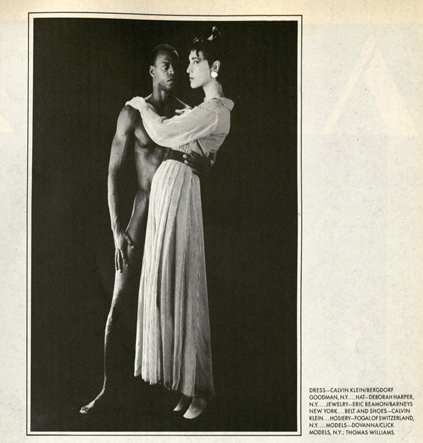 Dovanna Pagowski and Thomas Williams photographed by Robert Mapplethorpe from Interview magazine