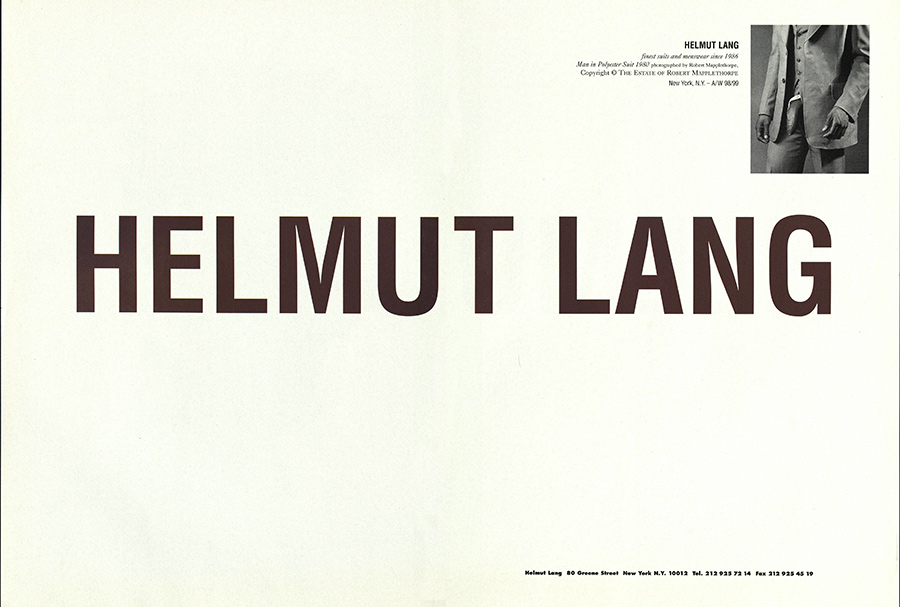 Helmut Lang advertisement featuring black male nude by Robert Mapplethorpe