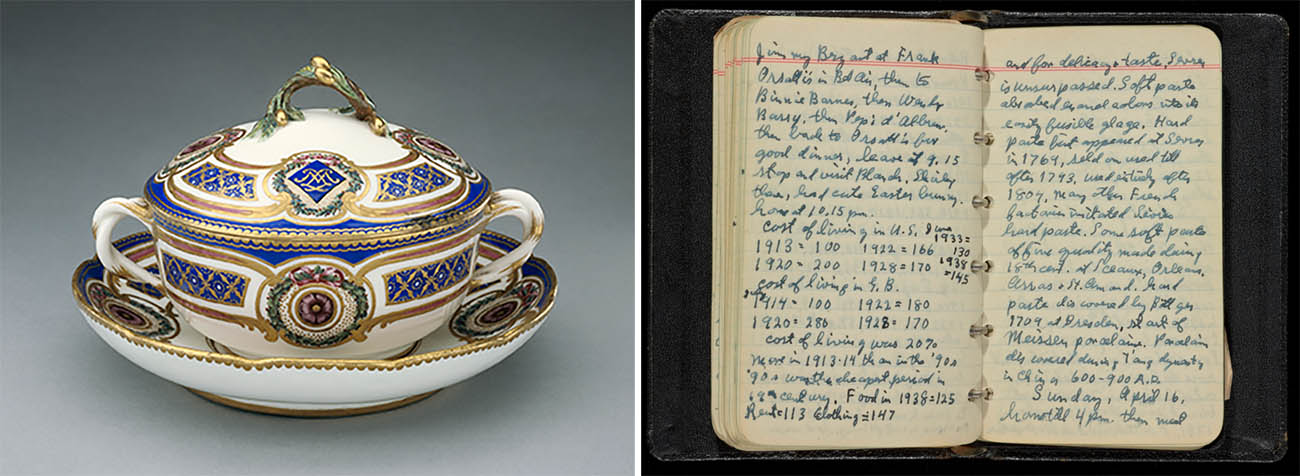 Lidded Bowl on Dish; pages of diary