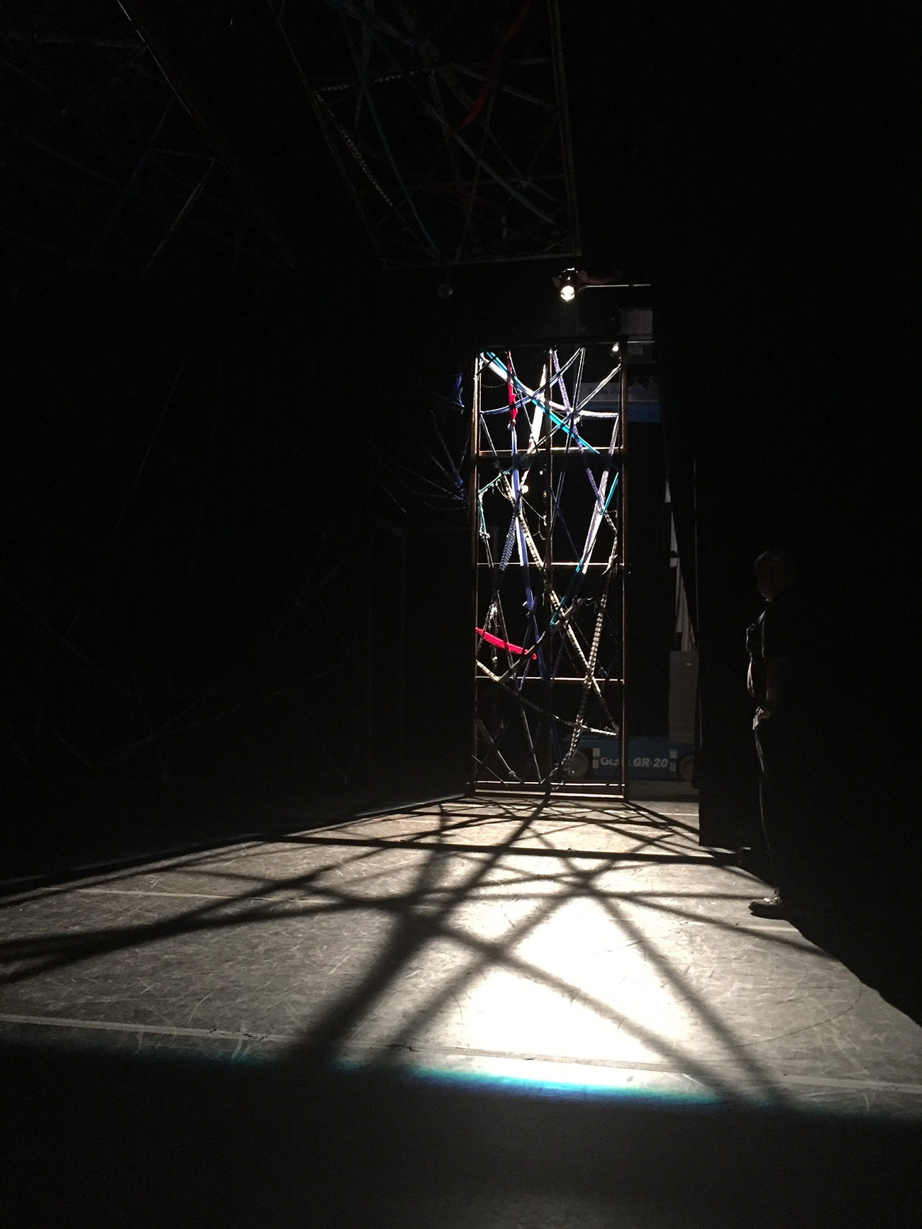 First pieces of the set for Asterion come together in the Getty Villa Auditorium. Photo courtesy of Ghost Road Company