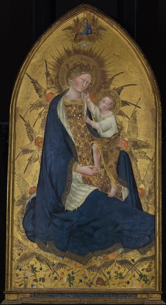 Mary and the Christ Child, Mary dressed in dark blue, on a gilded wooden panel