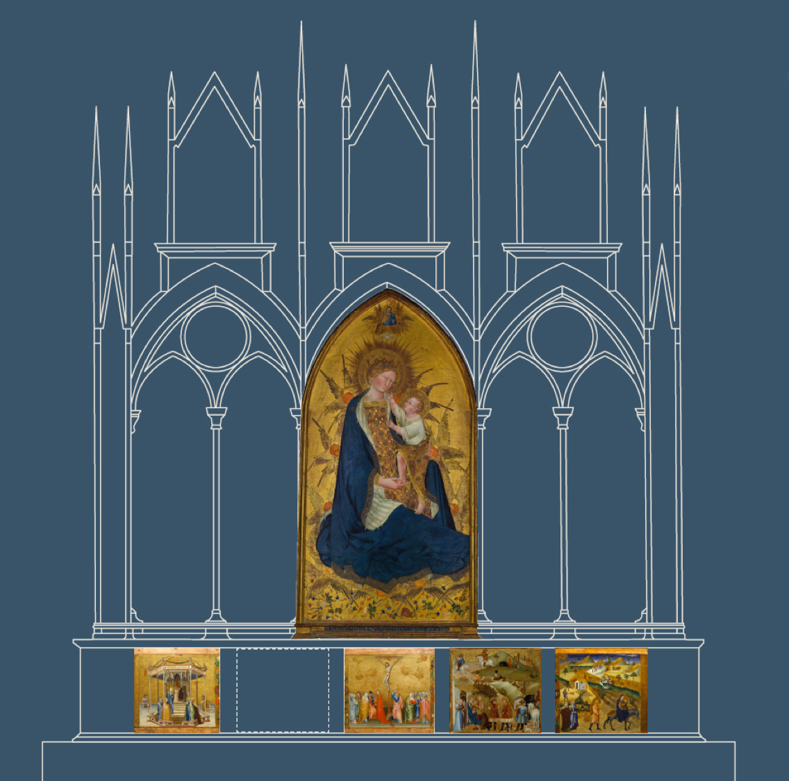 Diagram showing the architectural surround of the Branchini Altarpiece with surviving panels