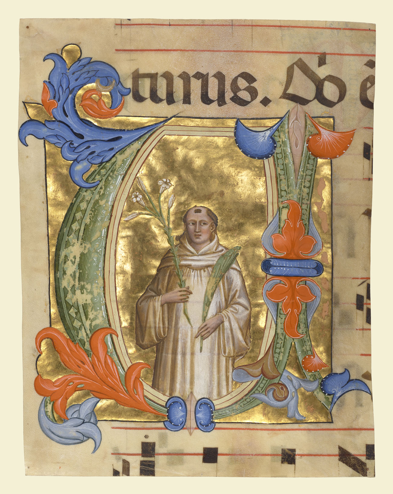 A saint in a monk's robe holds a palm front and a lily, in gold and bright tempera colors