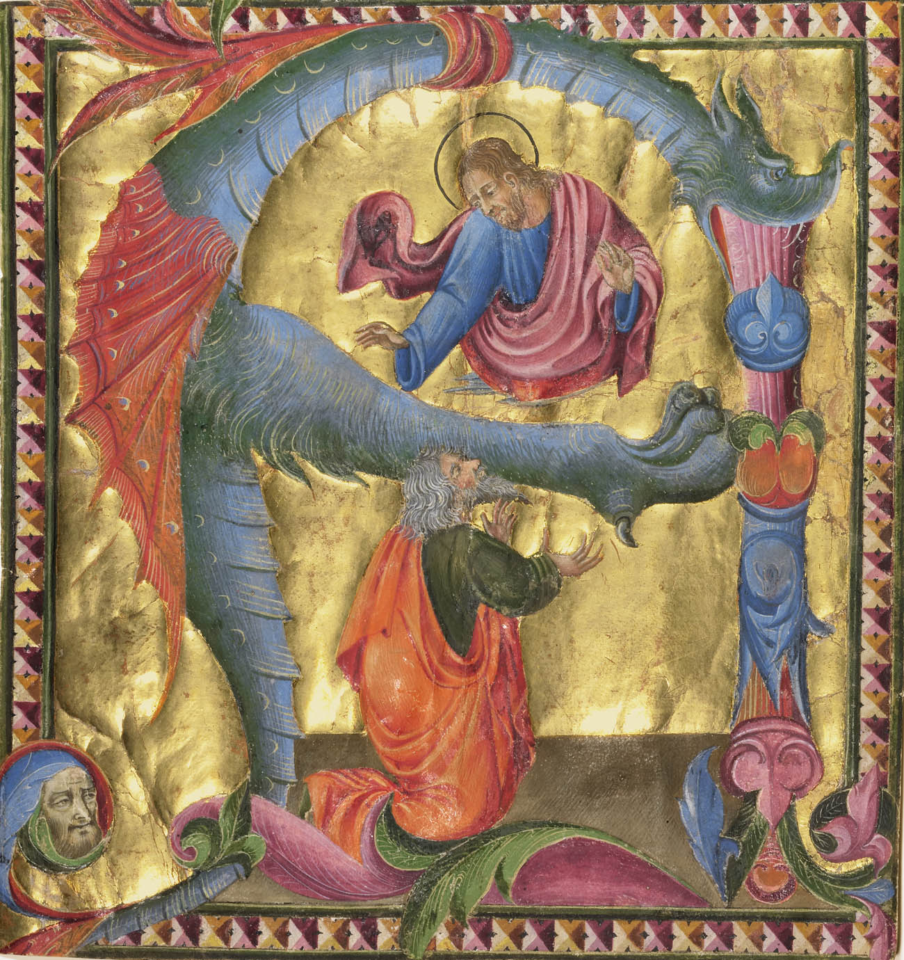 Christ hovers above a kneeling David in an illuminated frame circled by a dragon