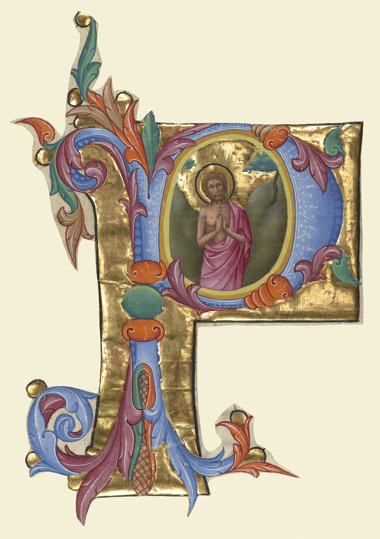 Cut out of its original page, a gilded and colorful P houses a depiction of Saint John the Baptist
