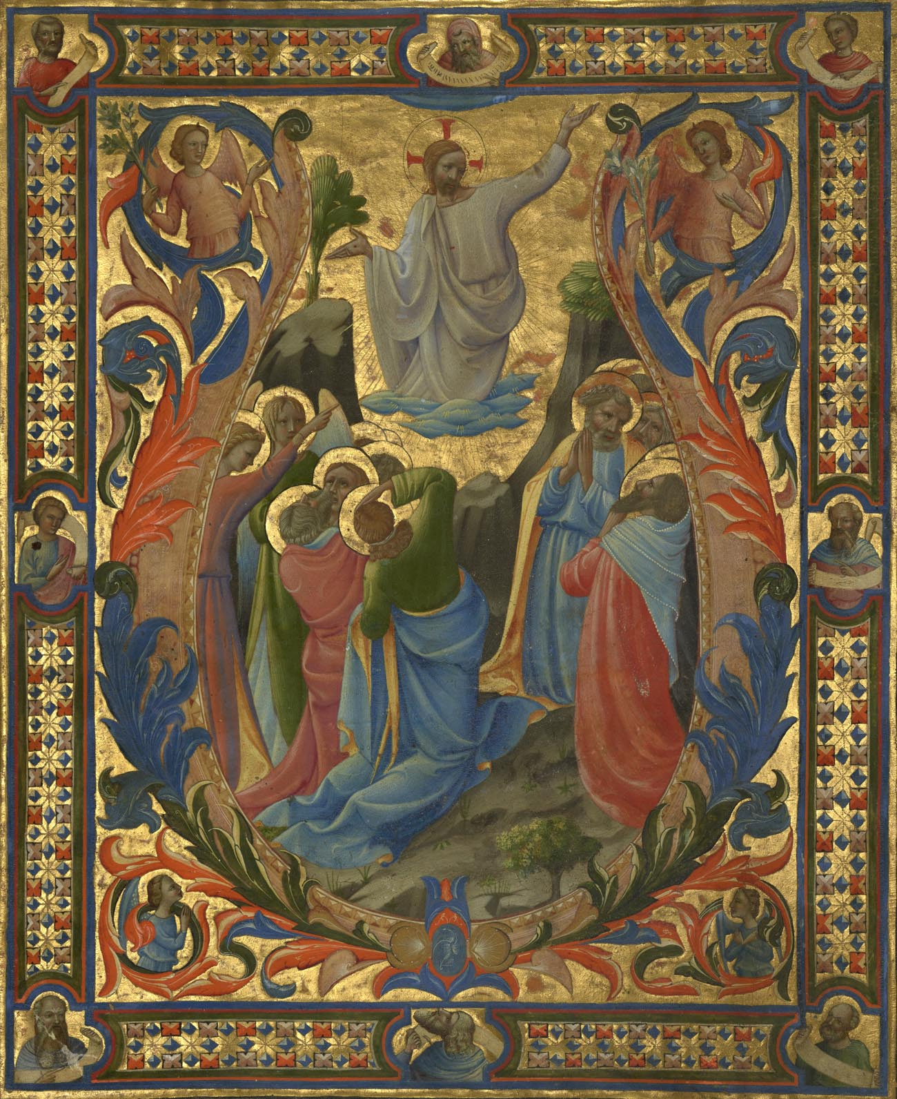 Illuminated manuscript depicting the ascension of Christ, in gold and bright tempera colors