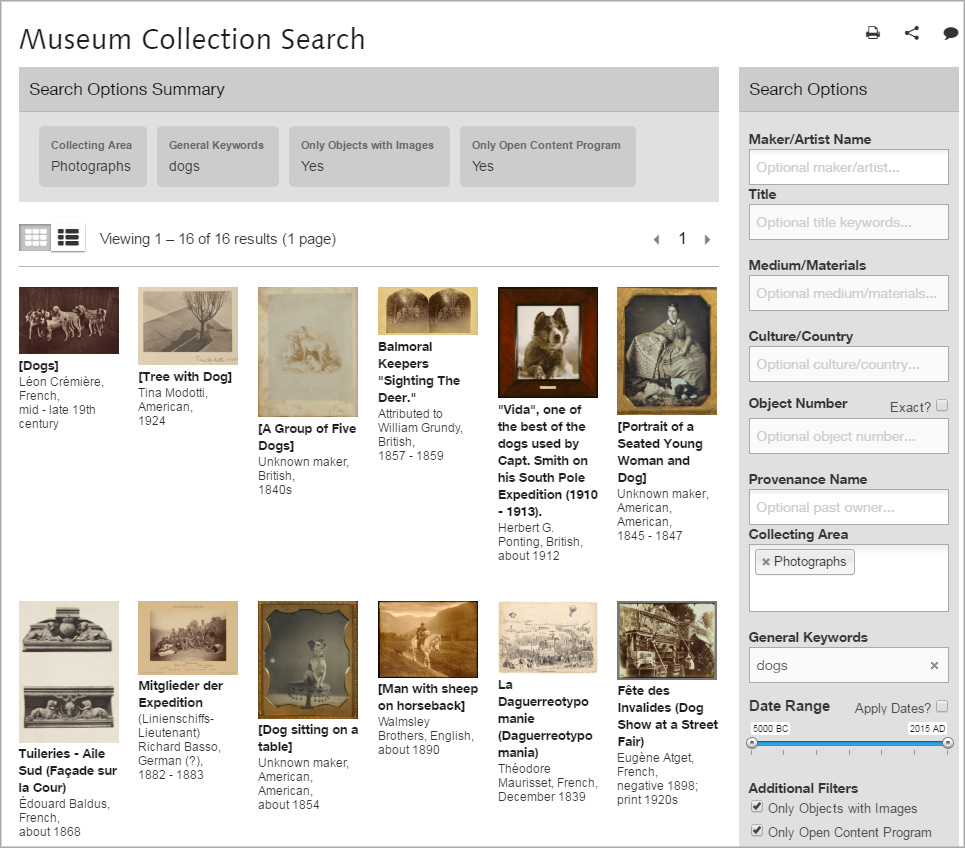 Screen capture from the Getty Museum's online collection search showing thumbnail images of public-domain images featuring dogs