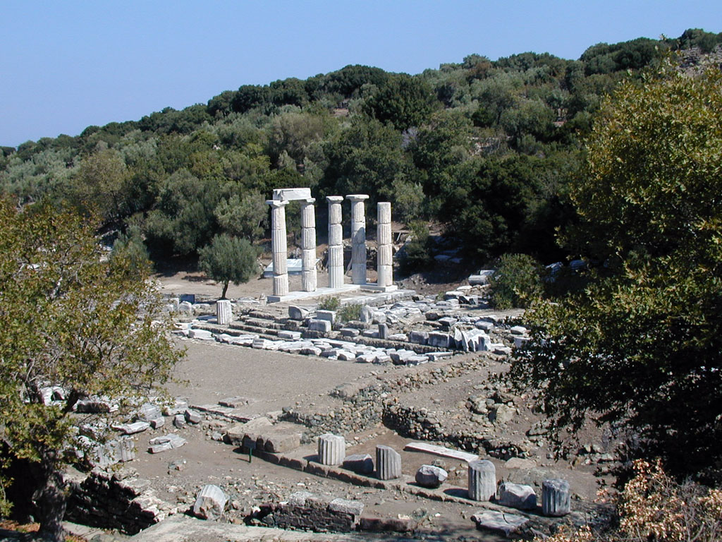 Landscape view of ruins of the hieron on Samothrace, Greece