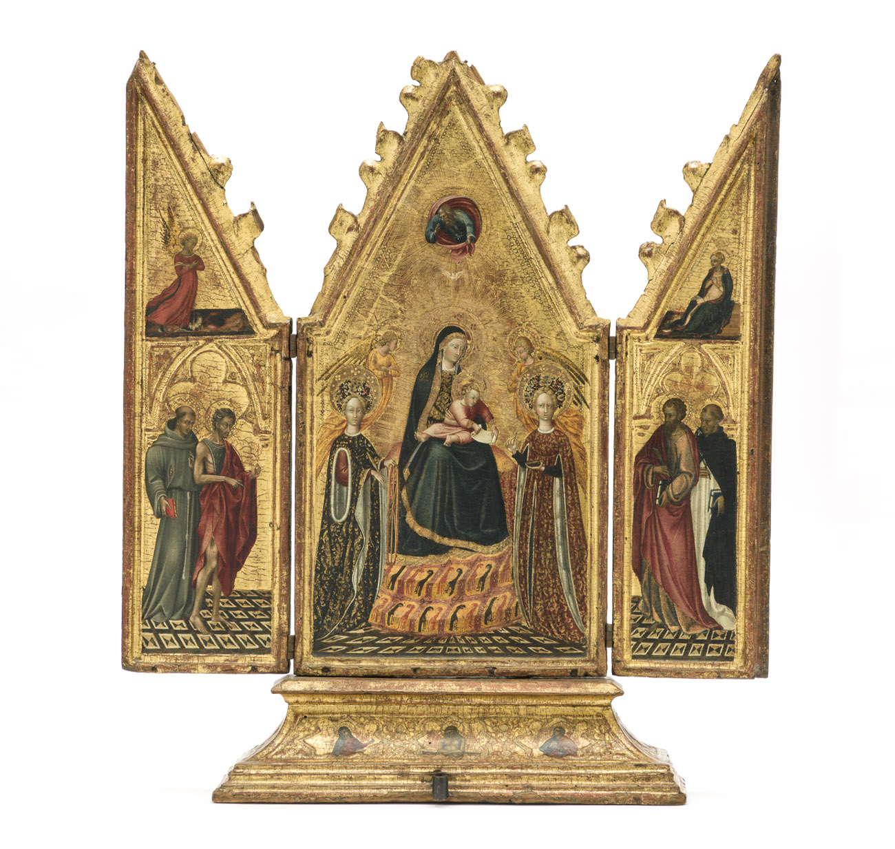 A three-part gilded panel on wood showing Mary and the saints