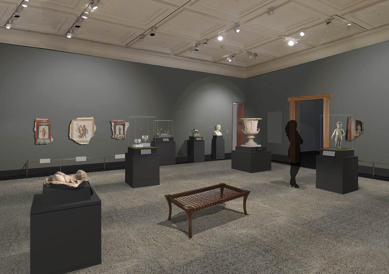 Designer's rendering of Gallery 211 following the reinstallation of the Getty Museum's antiquities collection at the Villa.