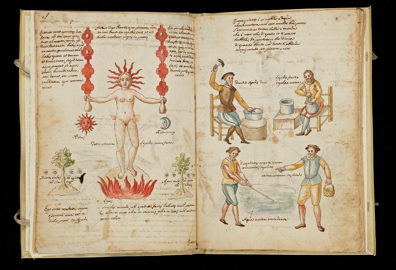 Allegory of Distillation (left) and Mercury Workers (right), 1606, Claudio de Domenico Celentano di Valle Nove, 1606. The Getty Research Institute.