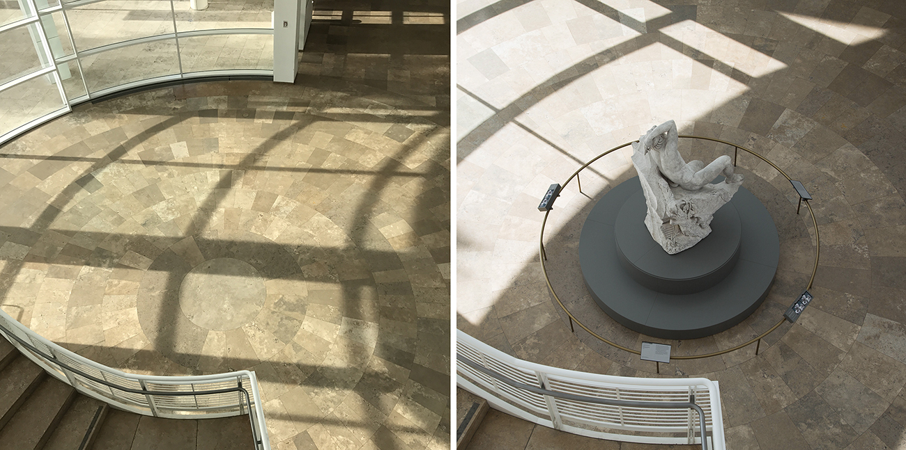The Sleeping Faun before and after installation in the J. Paul Getty Museum entrance hall.