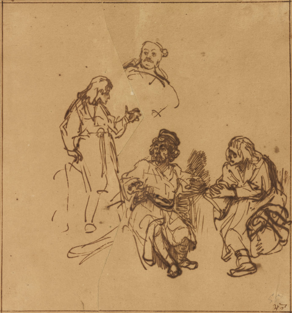 Joseph in Prison Interpreting the Dreams of Pharoah's Baker and Butler, about 1639, Rembrandt Harmensz. van Rijn. The J. Paul Getty Museum