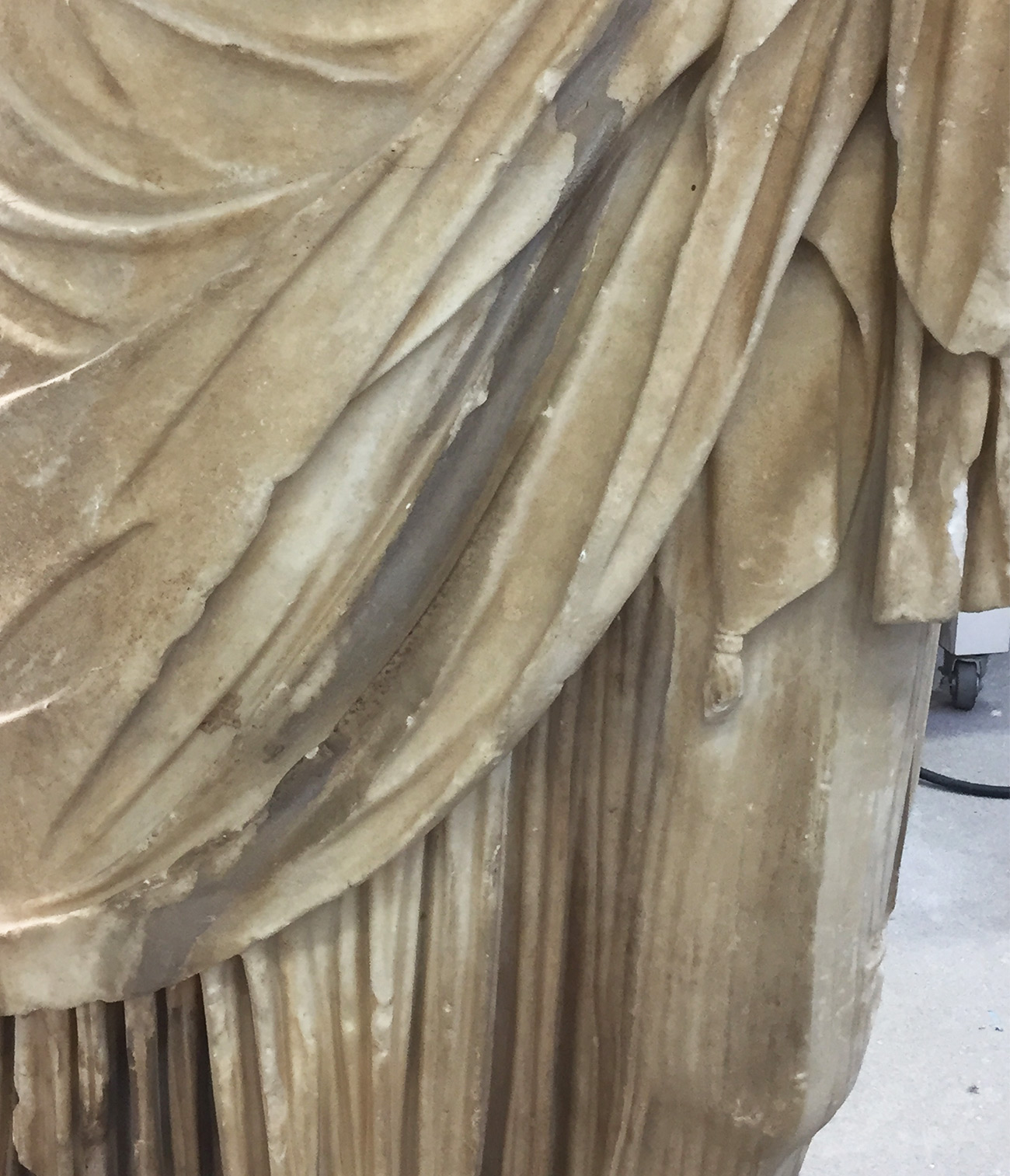 Calcareous (chalky) material on statue
