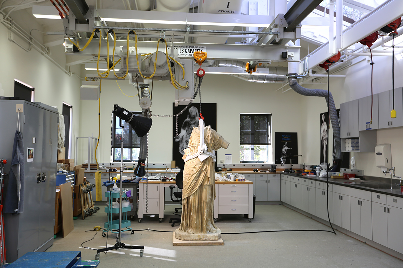 Body in the Getty Villa's conservation studio