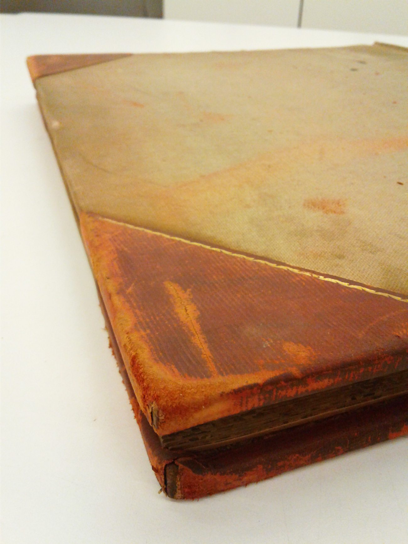 Red rot on one of the financial ledgers from the M. Knoedler & Co. records