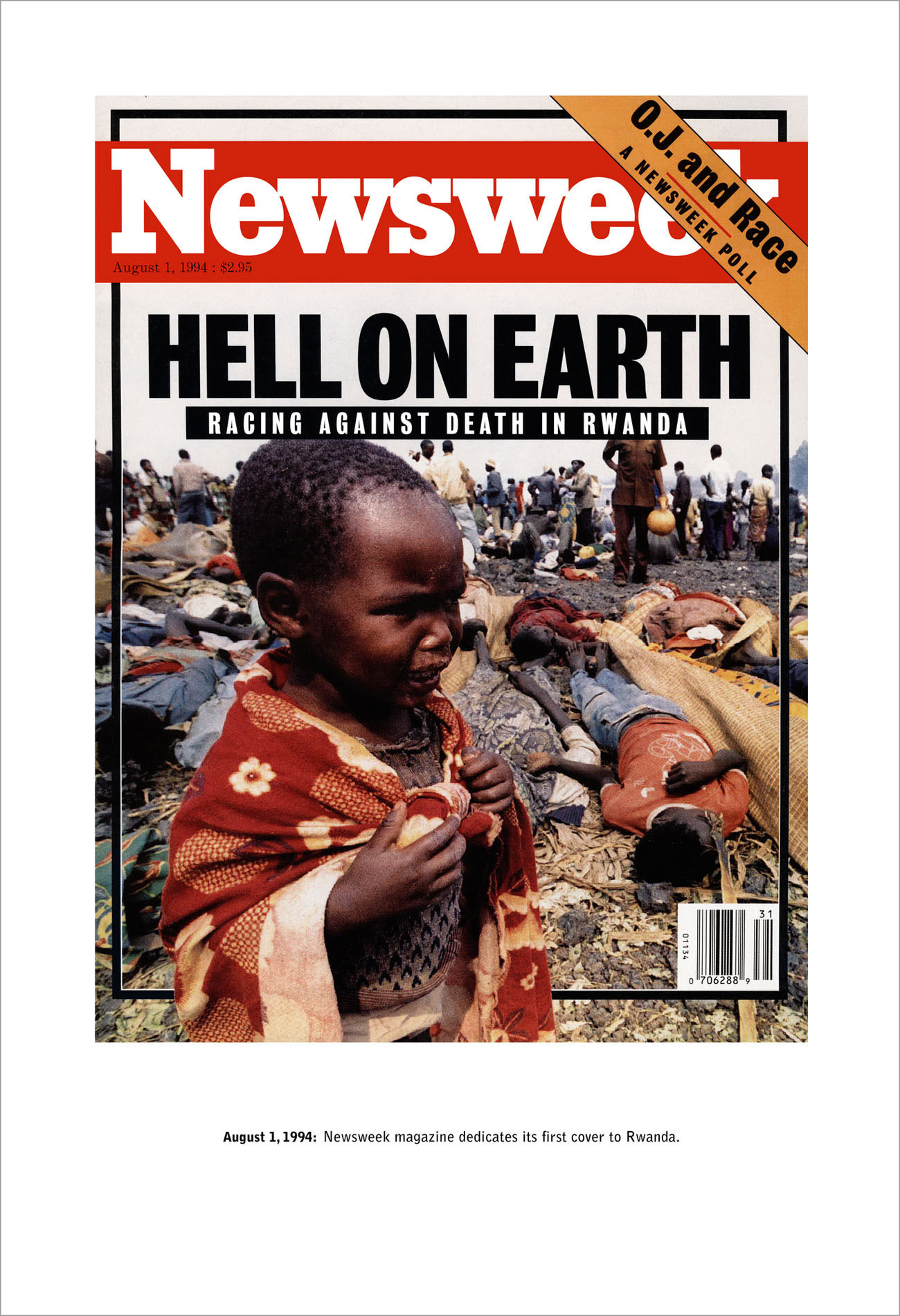 Newsweek cover about the Rwandan genocide showing a crying toddler with date and comment by artist Alfredo Jaar