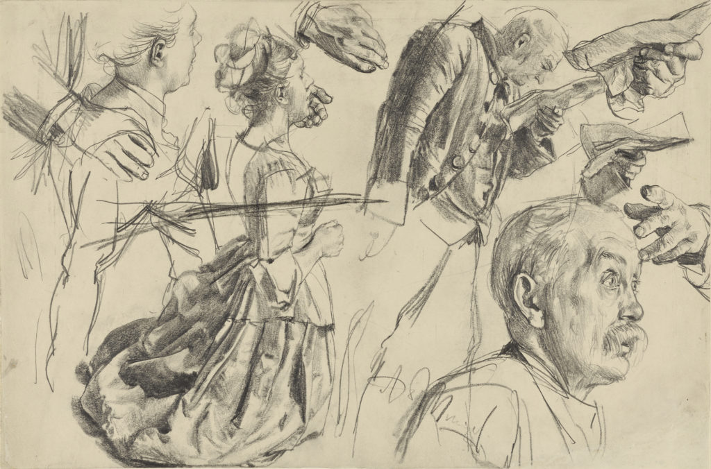 "Study for Heinrich von Kleist's ""The Broken Jug,"" about 1877, Adolf von Menzel. Graphite. The J. Paul Getty Museum, Gift of Dr. Richard A. Simms in honor of Lee Hendrix"