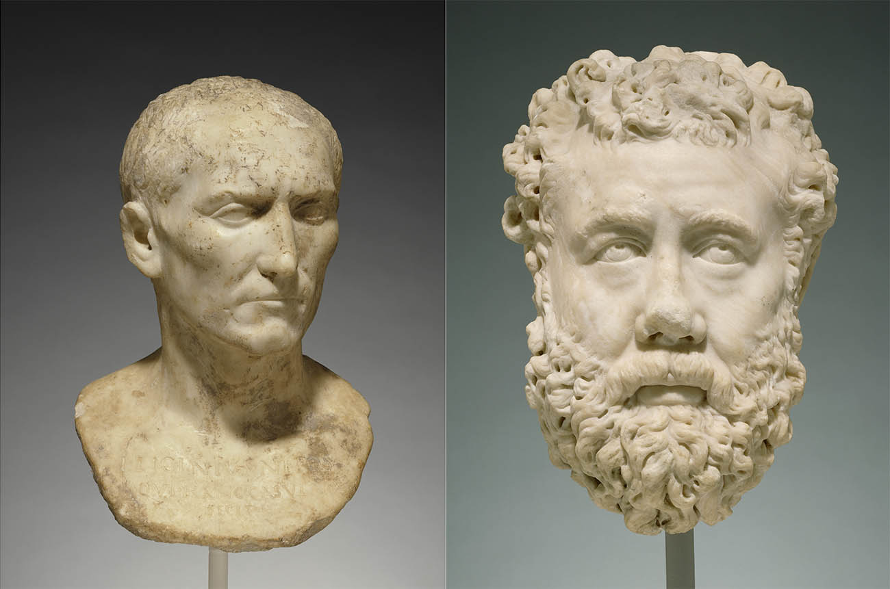 Two busts made by Roman sculptors—the one on the left (Bust of L. Licinius Nepos) from the first century AD, the one on the right (Portrait of a Bearded Man) from the third—show differences in the carving of the eyes, hair, and surface of the marble.