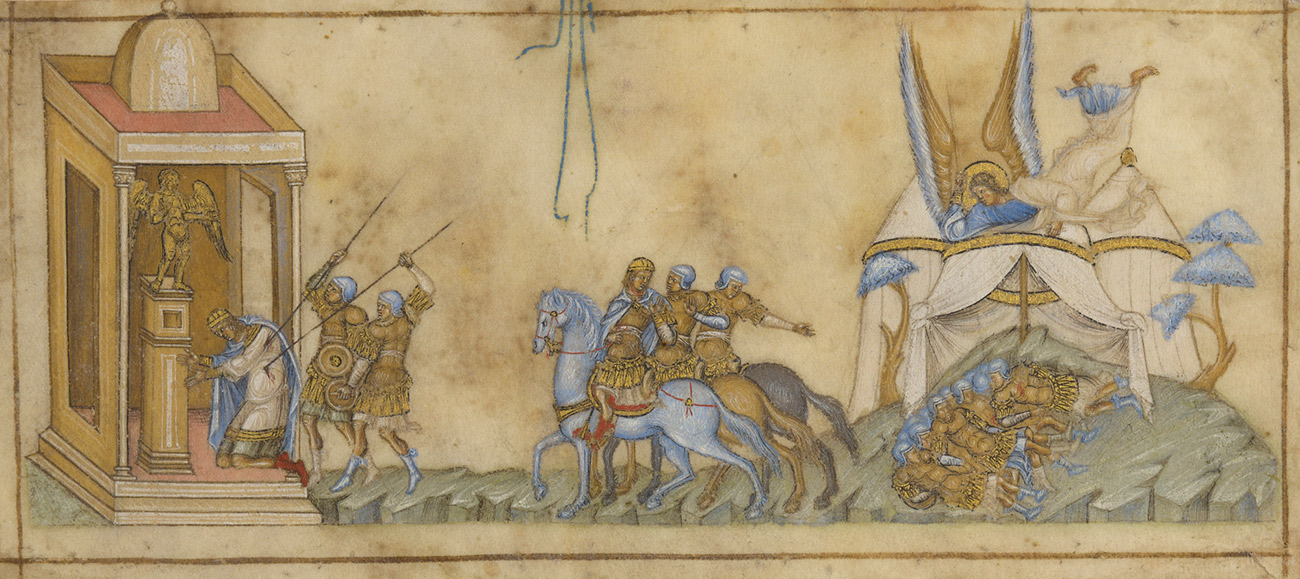 Three separate episodes from the Israelites' battle with Sennacherib, king of Assyria, now Iraq, as recounted by the prophet Isaiah