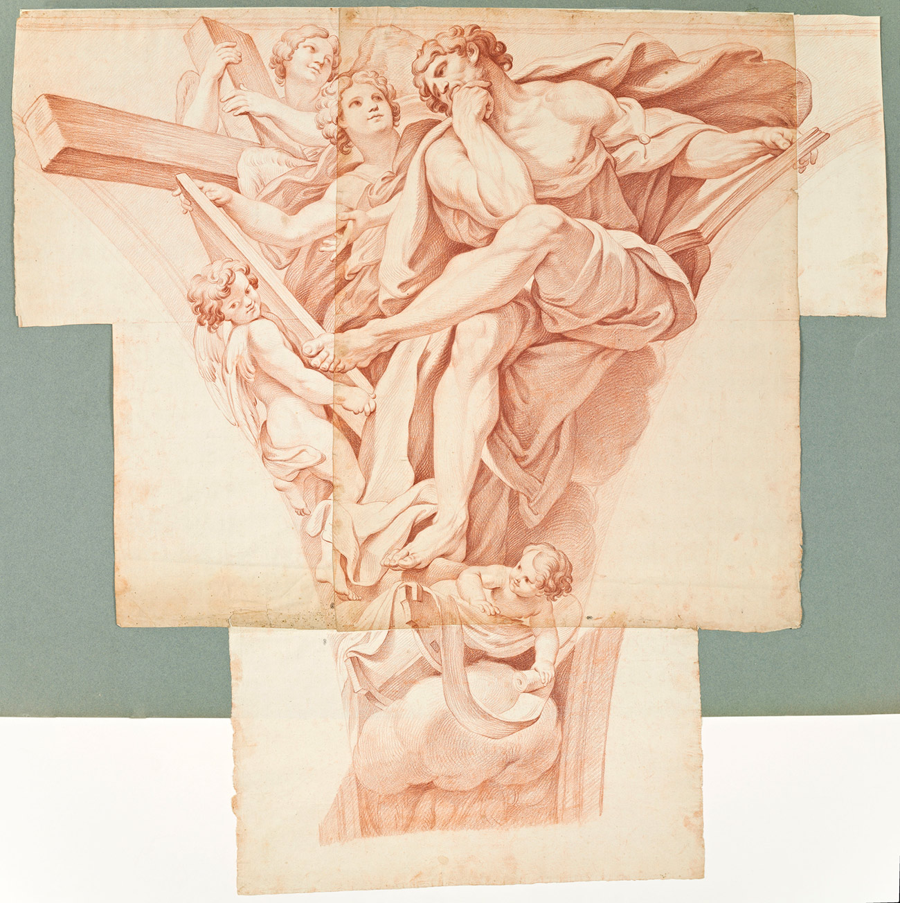 A multi-sheet drawing of St. Matthew in red chalk, pieced together on a white and teal background
