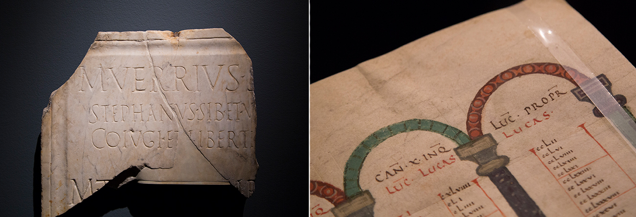 An engraved Latin inscription and a detail of a Carolingian manuscript with similar lettering