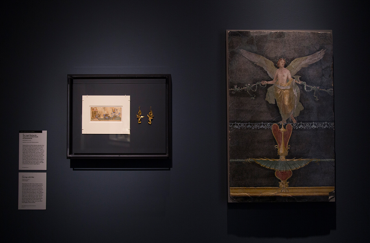 Three depictions of the winged victory, Nike: in a medieval manuscript, gold Greek earrings, and a Roman fresco