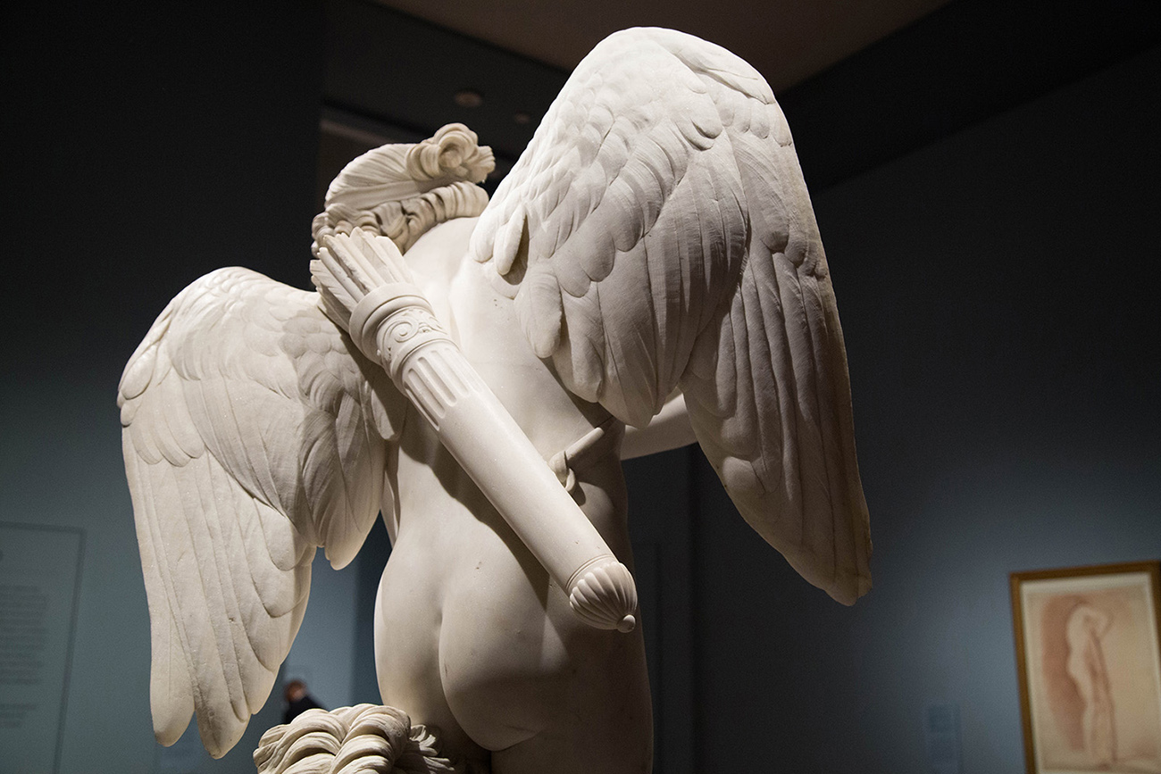 Installation view of Cupid by Edme Bouchardon at the Getty Museum, 2017.